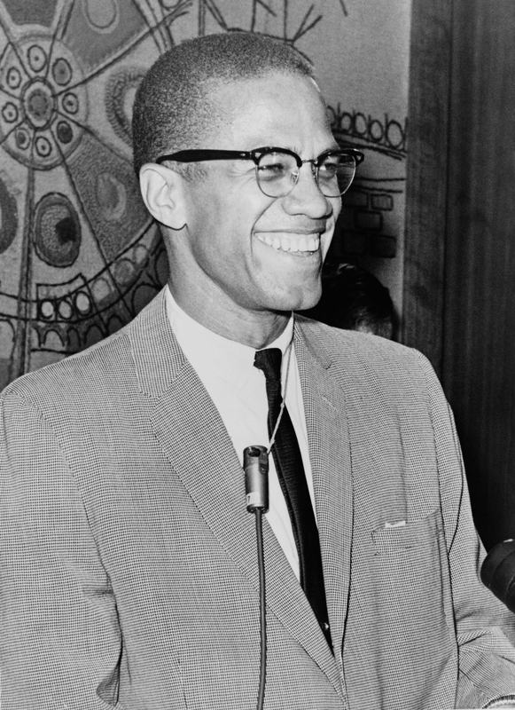 Malcolm X, half-length portrait, facing right