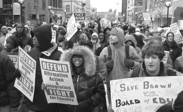 """Students rallying for affirmative action in Ann Arbor, Michigan in 2003"""