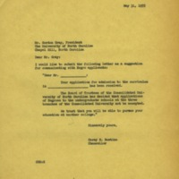 Chancellor Carey Bostian to University of North Carolina President Gordon Gray, May 31, 1955.jpg