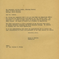 Chancellor Carey Bostian to William Rodman, Jr., February 24, 1956.jpg