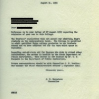 Chancellor John Harrelson to [Name Redacted], August 31, 1953.jpg