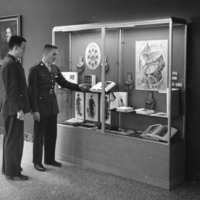ROTC students view Civil War exhibit in D. H. Hill Library, 1960