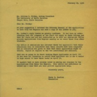 Chancellor Carey Bostian to William Friday, February 29, 1956.jpg