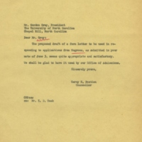 Chancellor Carey Bostian to University of North Carolina President Gordon Gray, June 6, 1955.jpg