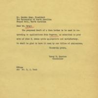 Chancellor Carey Bostian to University of North Carolina President Gordon Gray, June 6, 1955.jpg